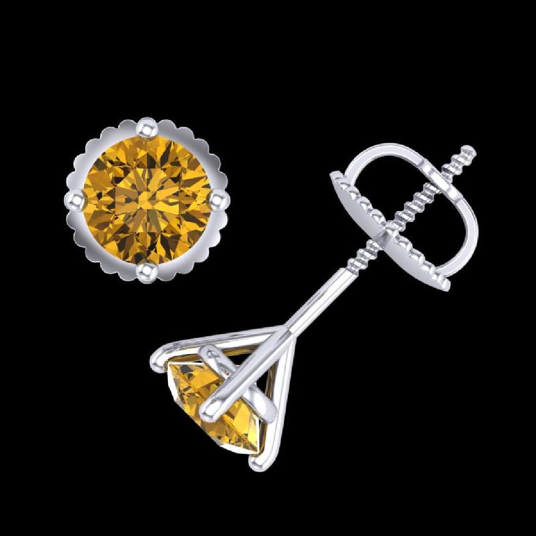 1.01 CTW Intense Fancy Yellow Diamond Art Deco Stud - 3