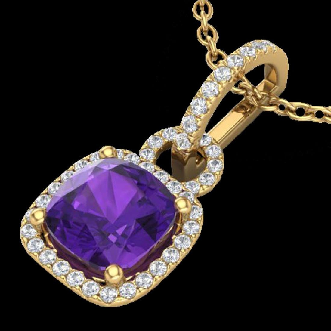 3.50 CTW Amethyst & Micro VS/SI Diamond Necklace 18K