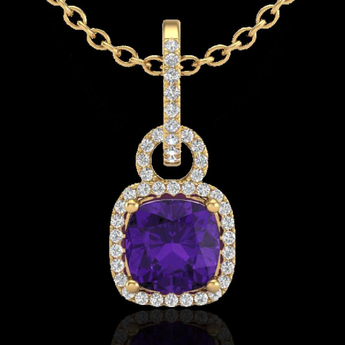 3.50 CTW Amethyst & Micro VS/SI Diamond Necklace 18K - 2