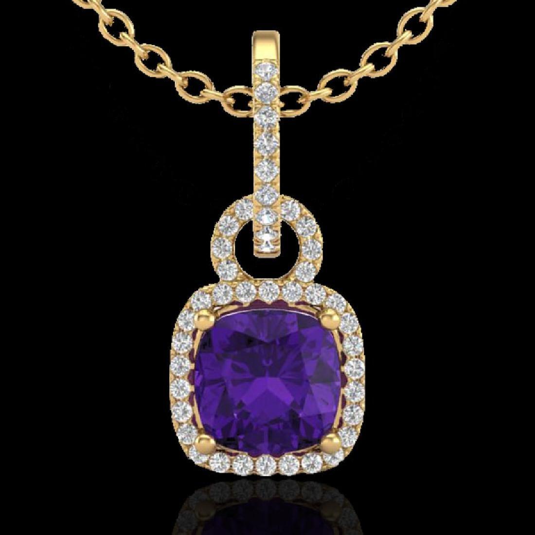 3.50 CTW Amethyst & Micro VS/SI Diamond Necklace 18K - 2