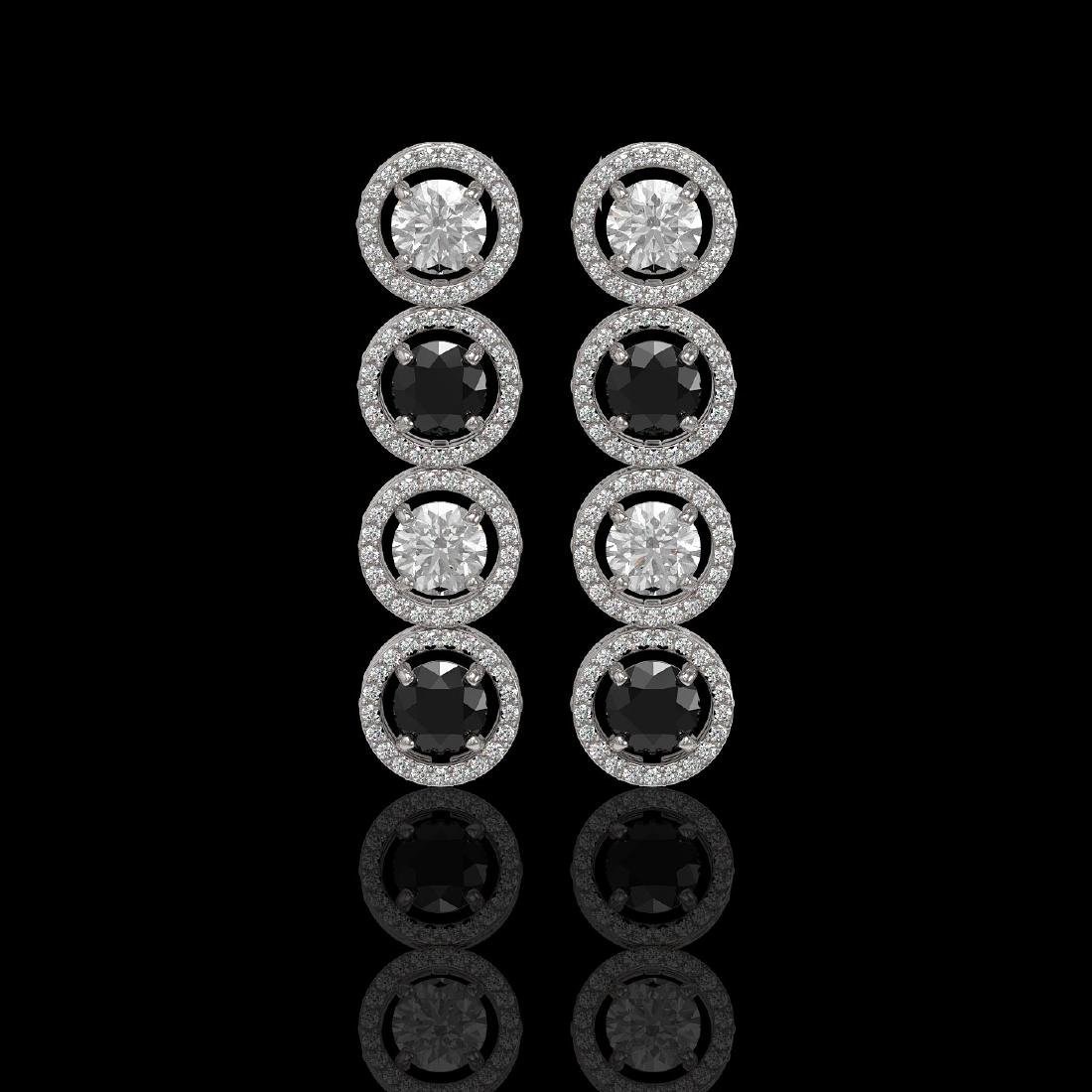 5.58 CTW Black & White Diamond Designer Earrings 18K