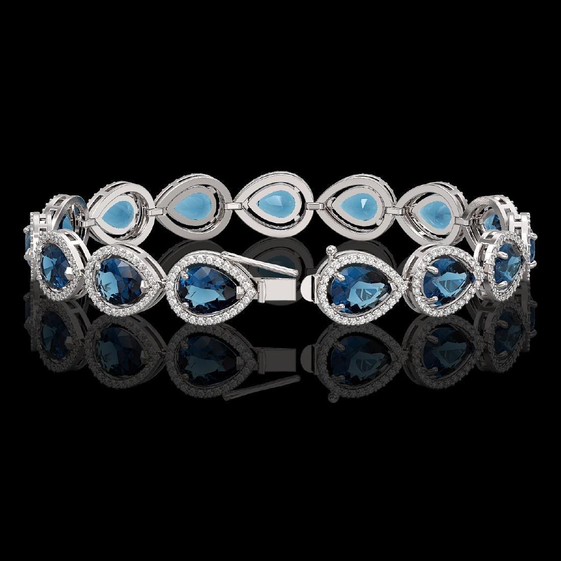 21.06 CTW London Topaz & Diamond Halo Bracelet 10K - 2
