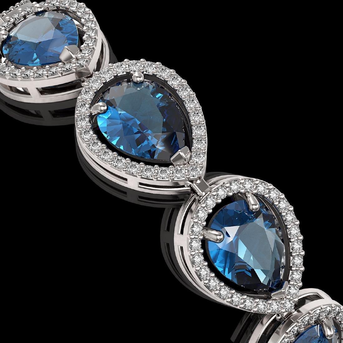 21.06 CTW London Topaz & Diamond Halo Bracelet 10K - 3