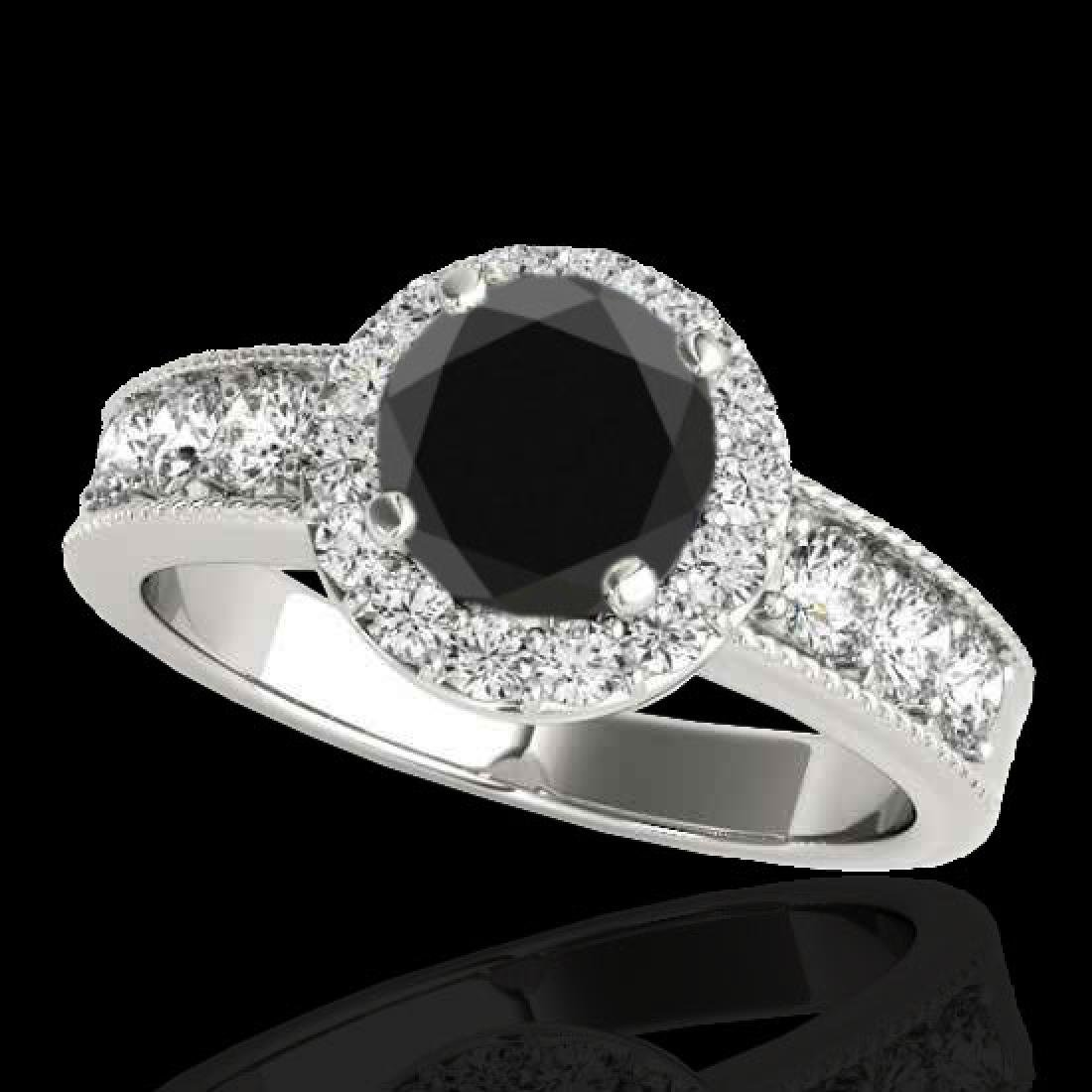 2.1 CTW Certified VS Black Diamond Solitaire Halo Ring