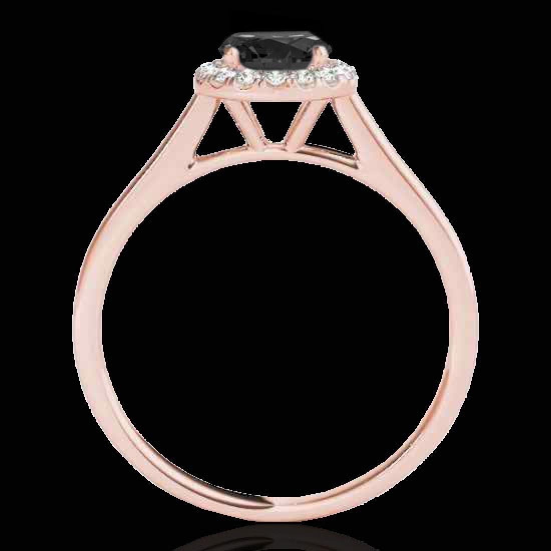 1.11 CTW Certified VS Black Diamond Solitaire Halo Ring - 2