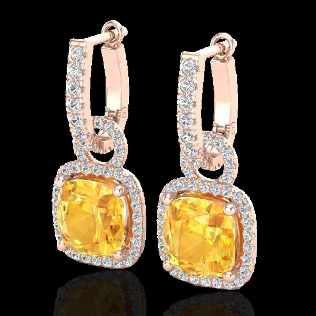 7 CTW Citrine & Micro Pave VS/SI Diamond Earrings 14K