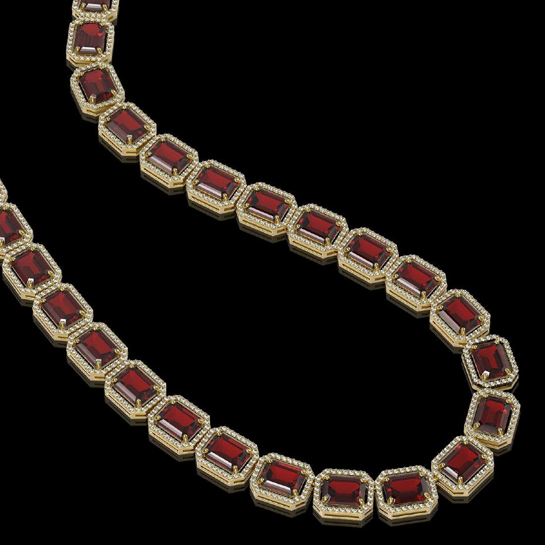 73.44 CTW Garnet & Diamond Halo Necklace 10K Yellow
