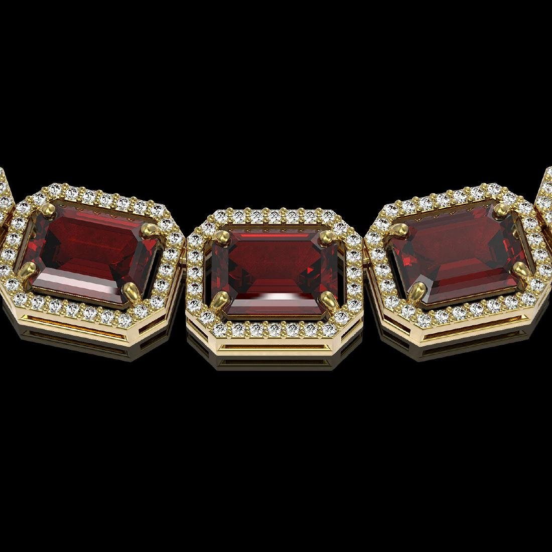 73.44 CTW Garnet & Diamond Halo Necklace 10K Yellow - 2