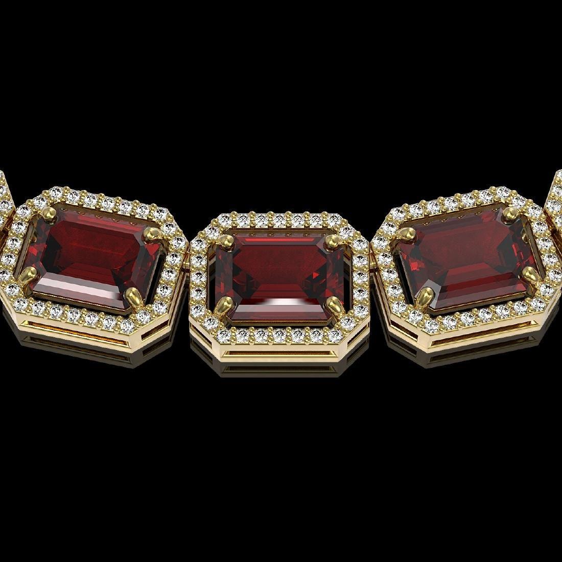 73.44 CTW Garnet & Diamond Halo Necklace 10K Yellow - 2