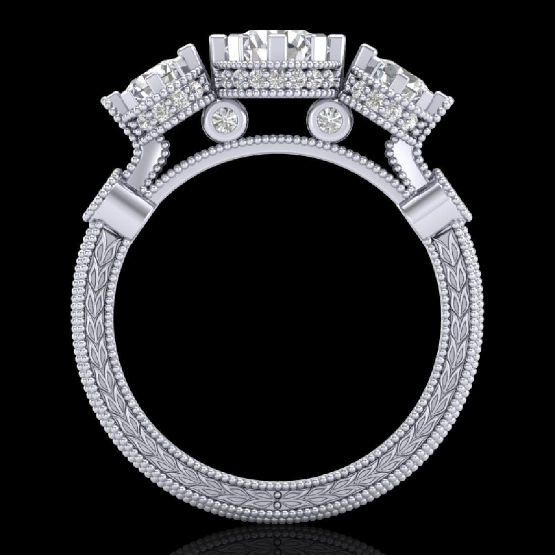 1.75 CTW VS/SI Diamond Solitaire Art Deco 3 Stone Ring