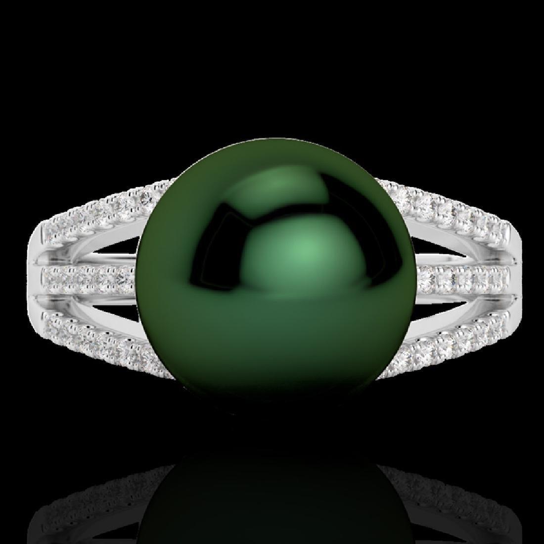 0.30 CTW Micro Pave VS/SI Diamond & Peacock Pearl Ring