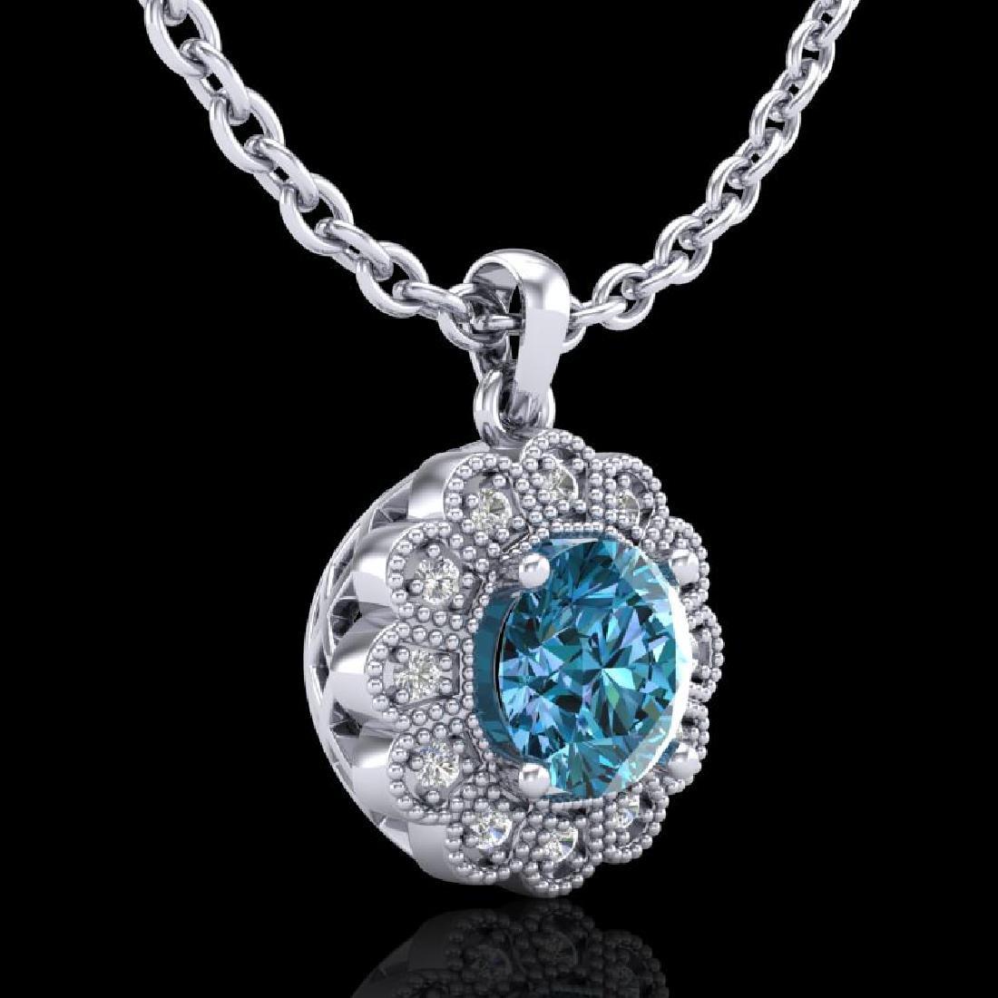 1.15 CTW Fancy Intense Blue Diamond Solitaire Art Deco - 2
