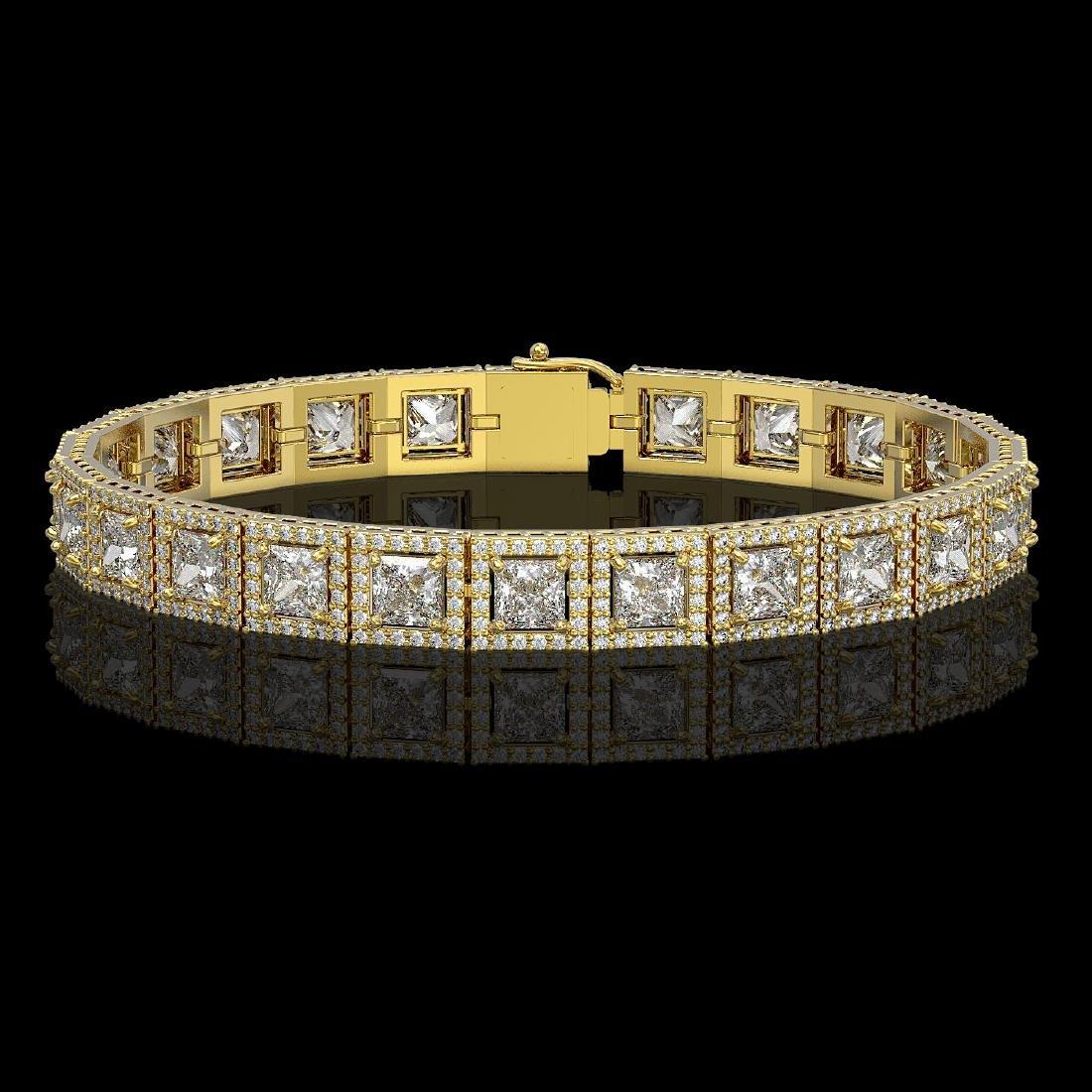 15.87 CTW Princess Diamond Designer Bracelet 18K Yellow
