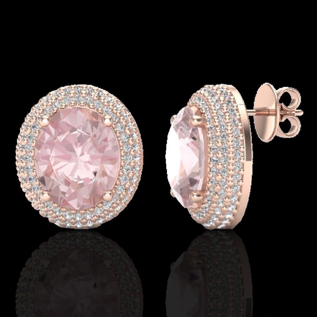 9 CTW Morganite & Micro Pave VS/SI Diamond Earrings 14K - 2
