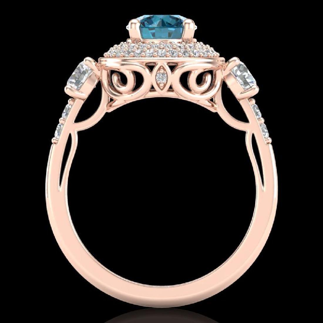 2.05 CTW Intense Blue Diamond Solitaire Art Deco 3 - 3