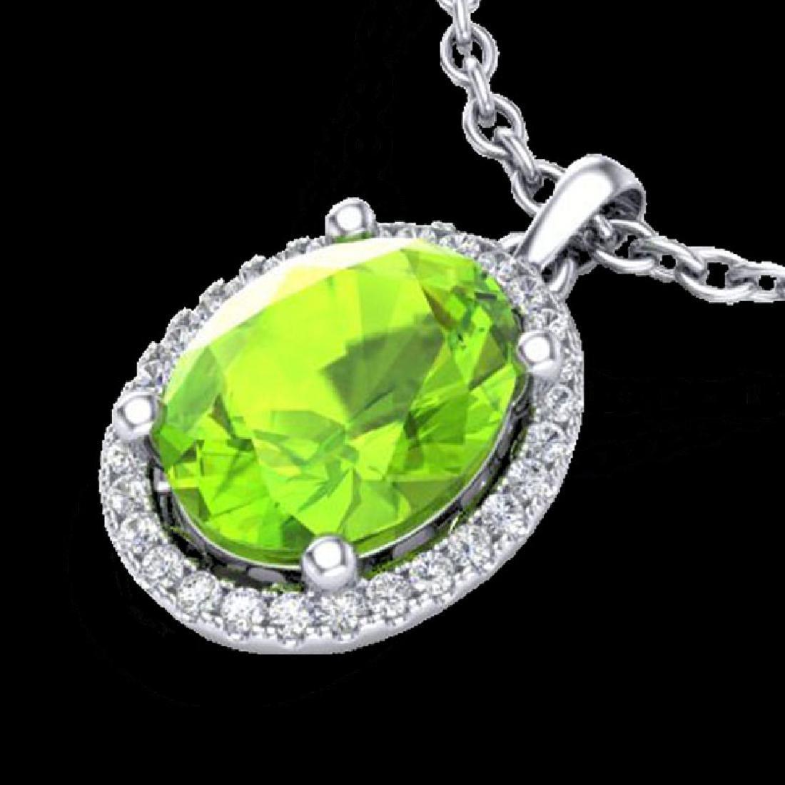 2.50 CTW Peridot & Micro Pave VS/SI Diamond Necklace