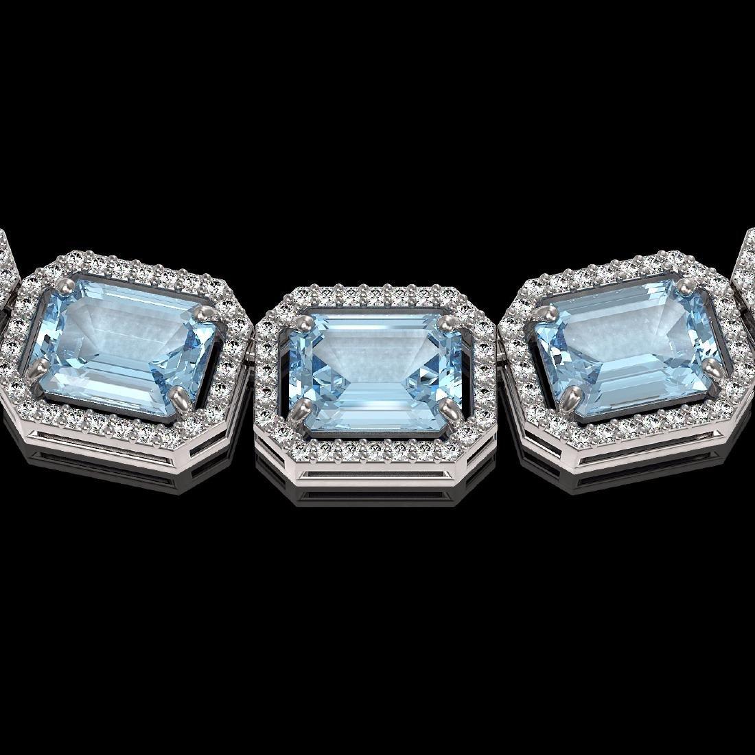 78.34 CTW Sky Topaz & Diamond Halo Necklace 10K White - 3