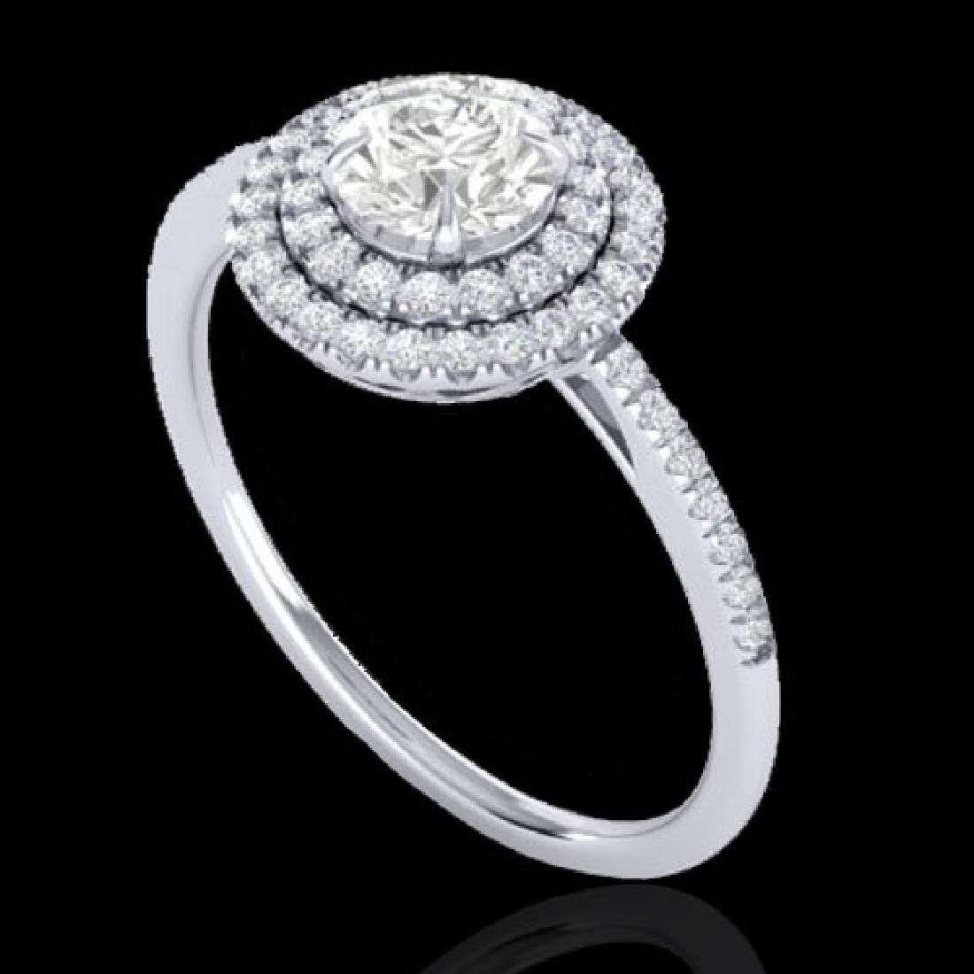 1 CTW Micro Pave VS/SI Diamond Solitaire Ring Double - 2