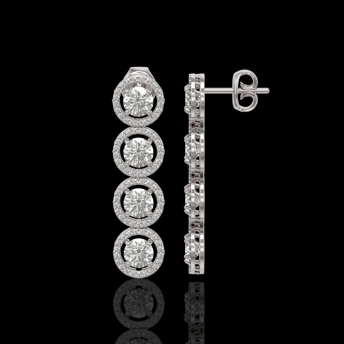 5.36 CTW Diamond Designer Earrings 18K White Gold - 2