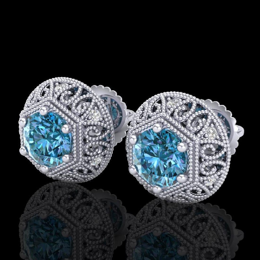 1.31 CTW Fancy Intense Blue Diamond Art Deco Stud