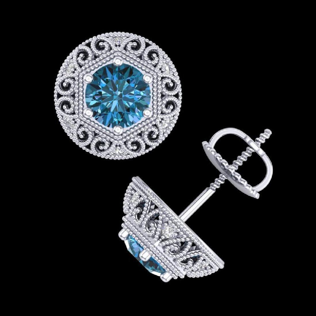 1.31 CTW Fancy Intense Blue Diamond Art Deco Stud - 2