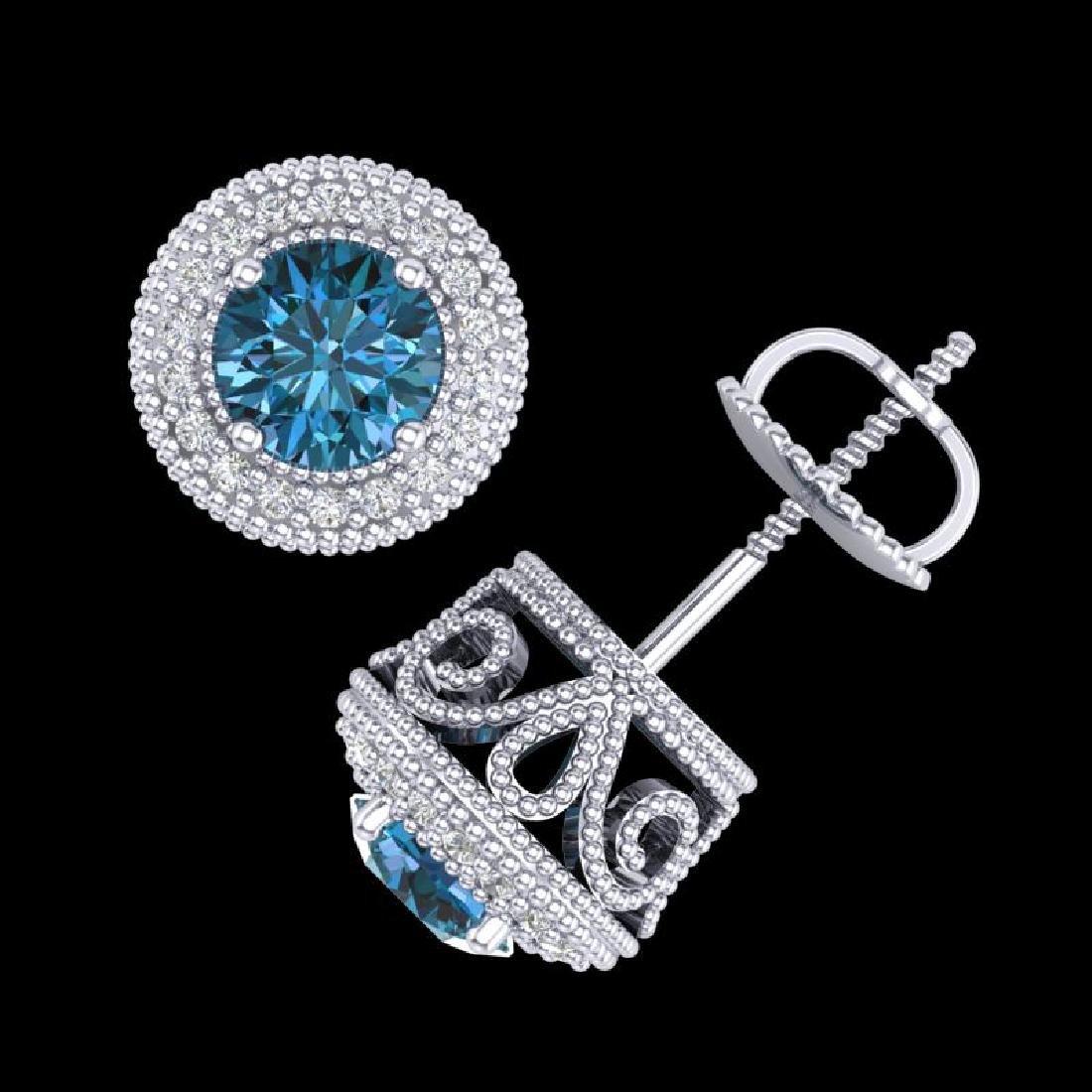 1.55 CTW Fancy Intense Blue Diamond Art Deco Stud - 2