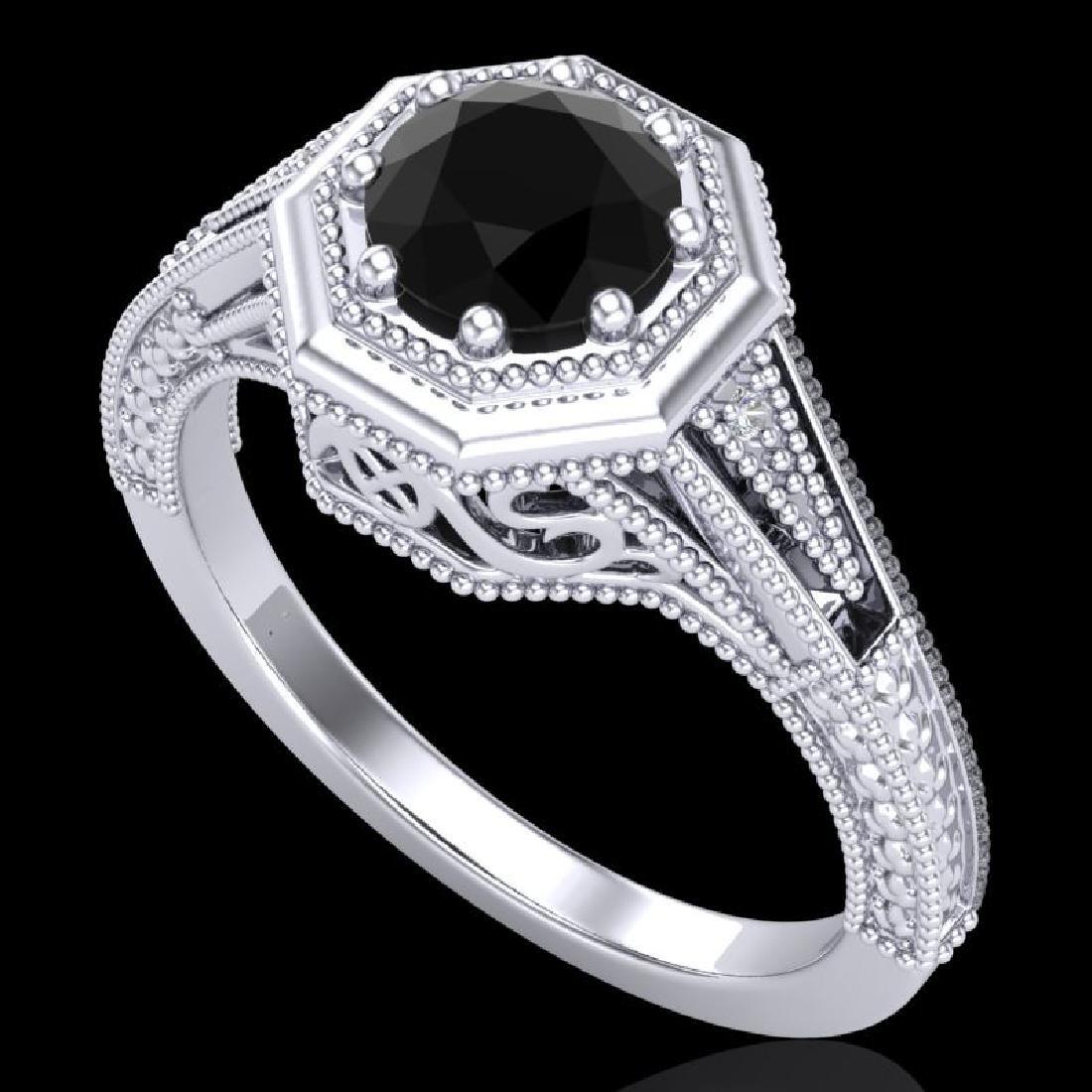 0.84 CTW Fancy Black Diamond Solitaire Engagement Art