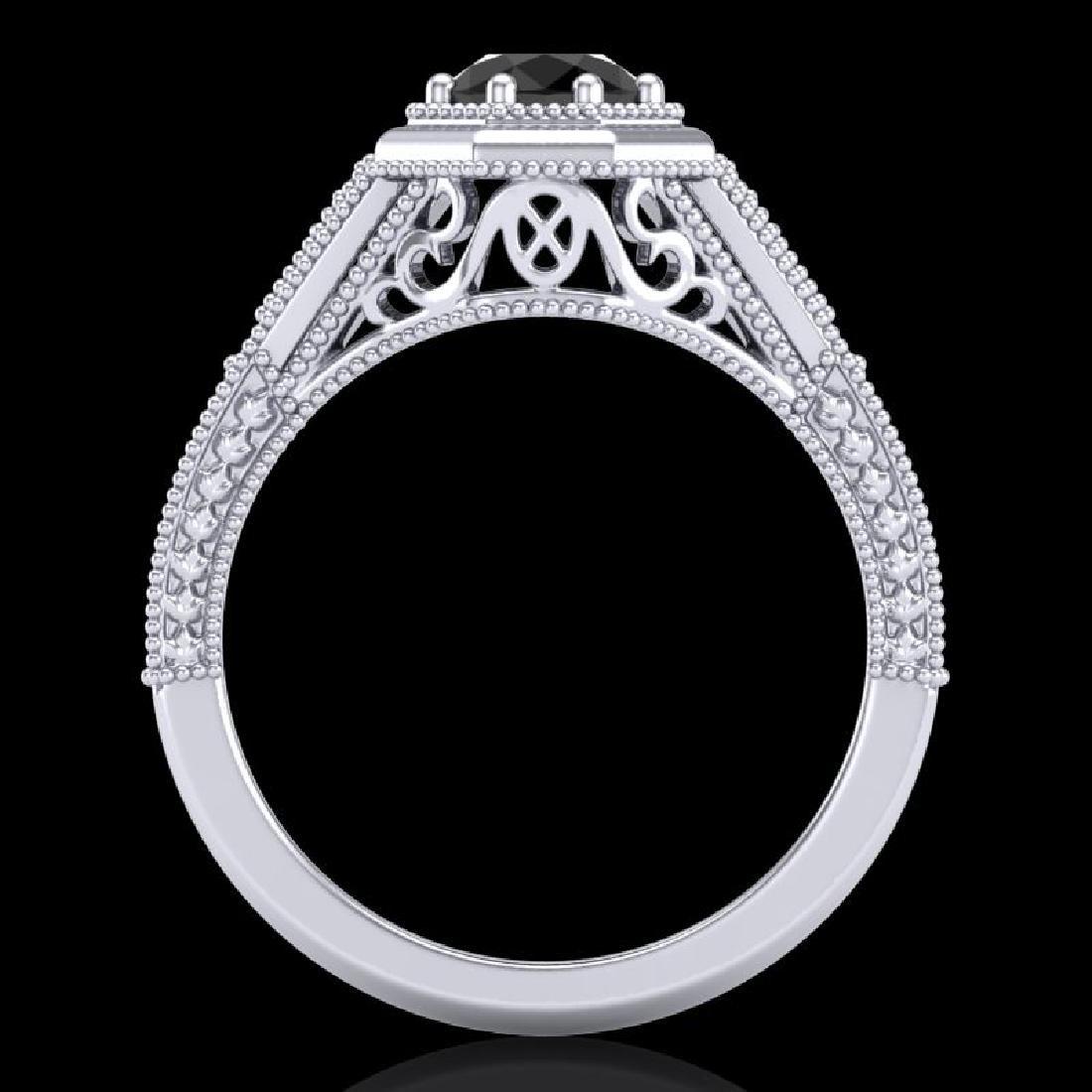 0.84 CTW Fancy Black Diamond Solitaire Engagement Art - 3