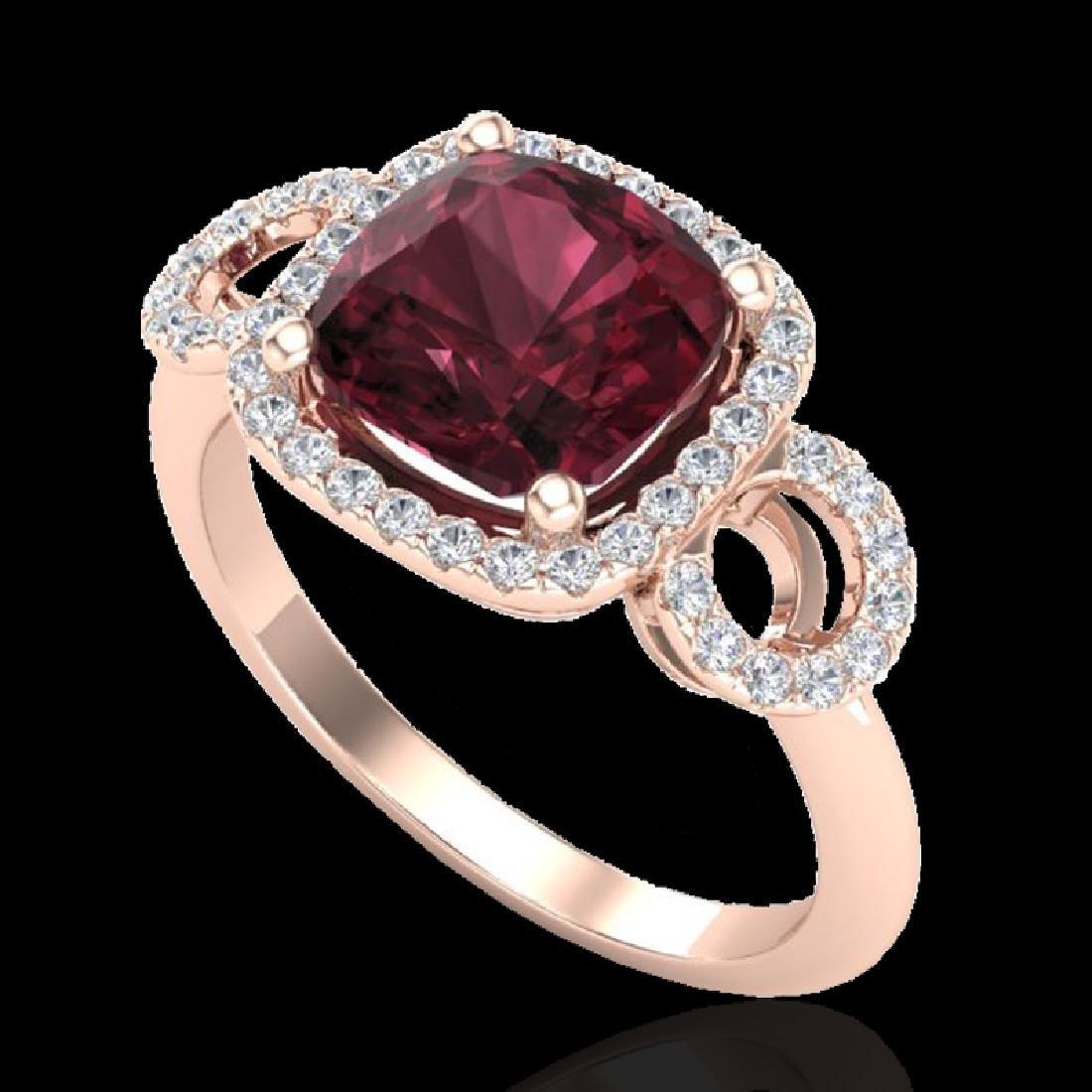 3.75 CTW Garnet & Micro VS/SI Diamond Ring 14K Rose - 2