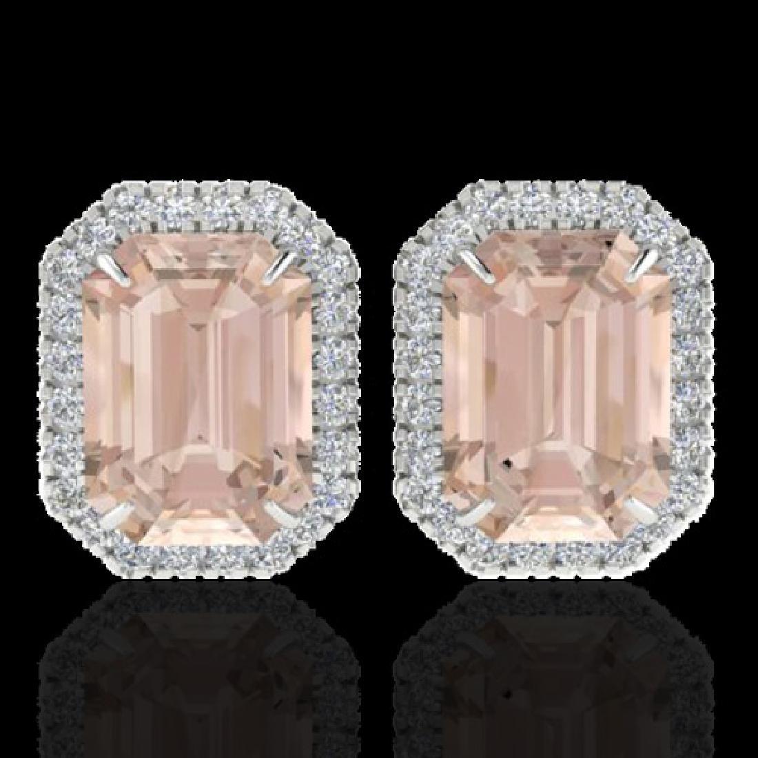 8.40 CTW Morganite & Micro Pave VS/SI Diamond Halo