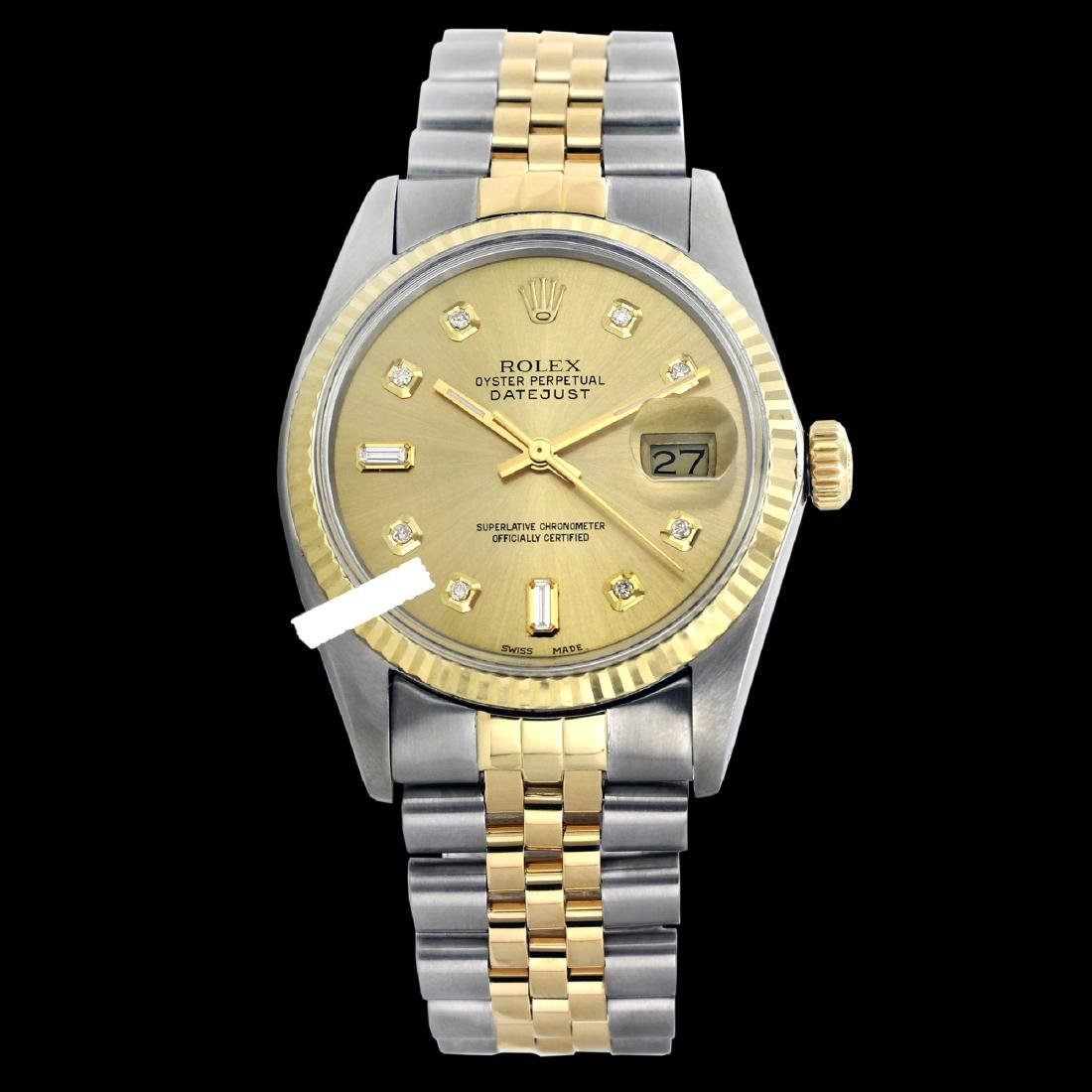 Rolex Ladies Two Tone 14K Gold/SS, Diamond Dial with
