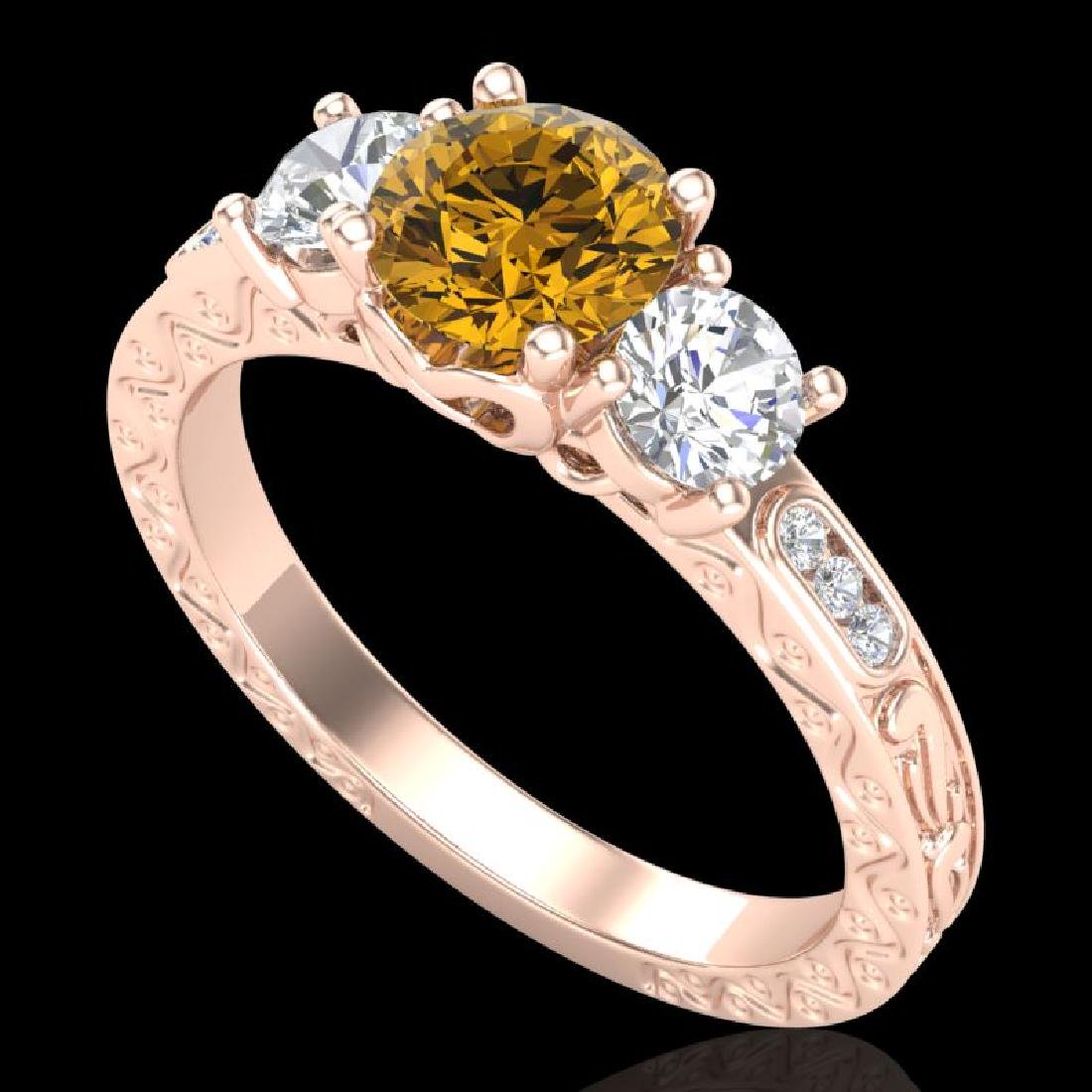 1.41 CTW Intense Fancy Yellow Diamond Art Deco 3 Stone