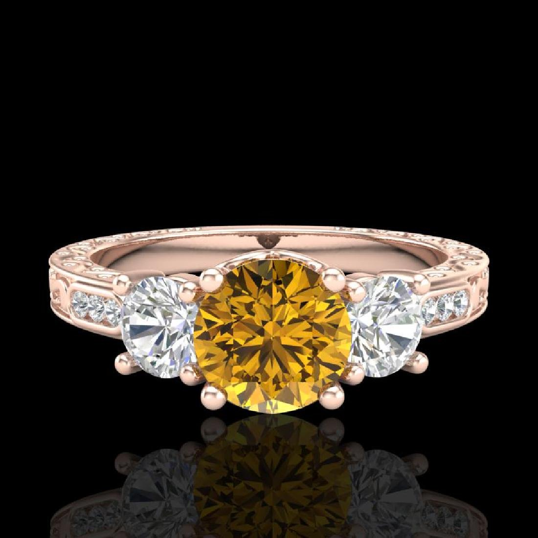 1.41 CTW Intense Fancy Yellow Diamond Art Deco 3 Stone - 2