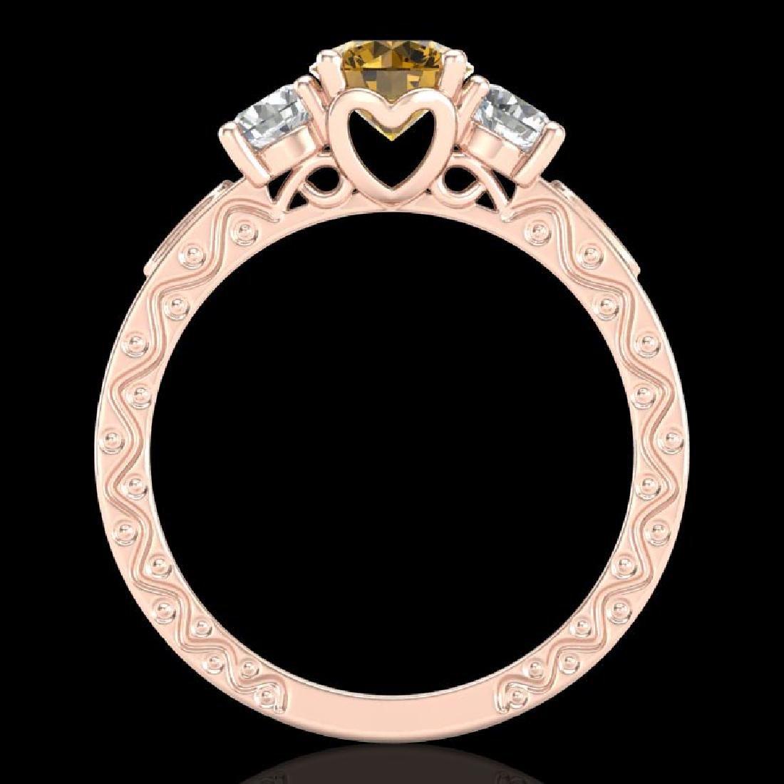 1.41 CTW Intense Fancy Yellow Diamond Art Deco 3 Stone - 3