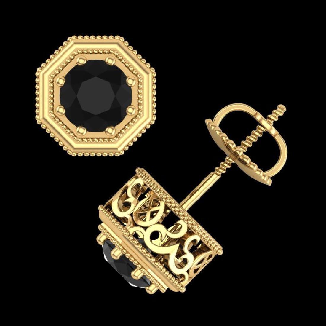 1.07 CTW Fancy Black Diamond Solitaire Art Deco Stud - 3