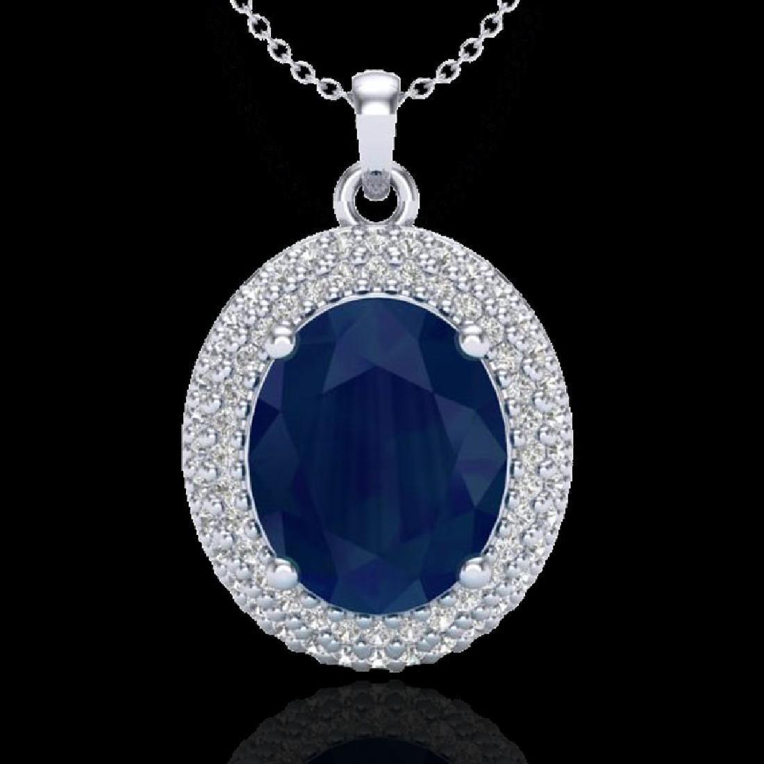 4.50 CTW Sapphire & Micro Pave VS/SI Diamond Necklace
