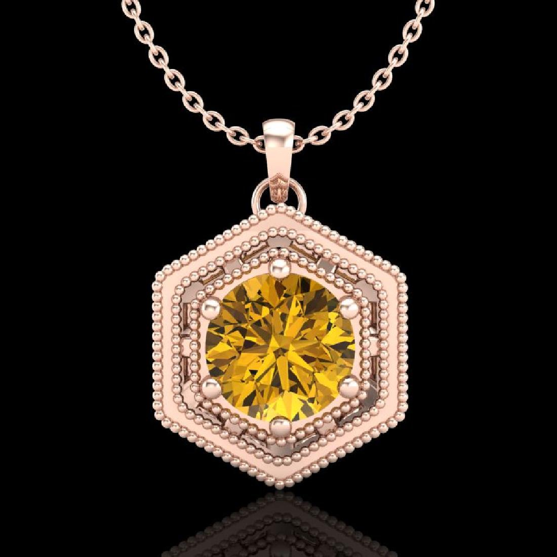0.76 CTW Intense Fancy Yellow Diamond Art Deco Stud