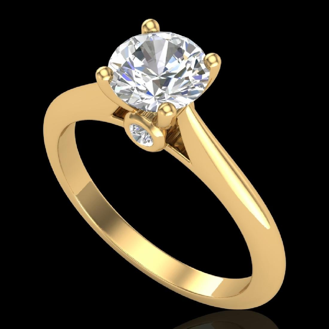 1.08 CTW VS/SI Diamond Solitaire Art Deco Ring 18K