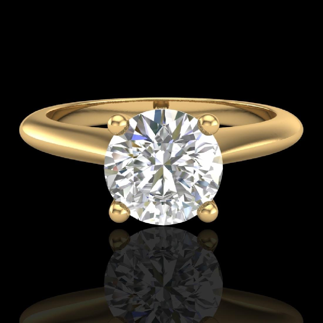 1.08 CTW VS/SI Diamond Solitaire Art Deco Ring 18K - 2