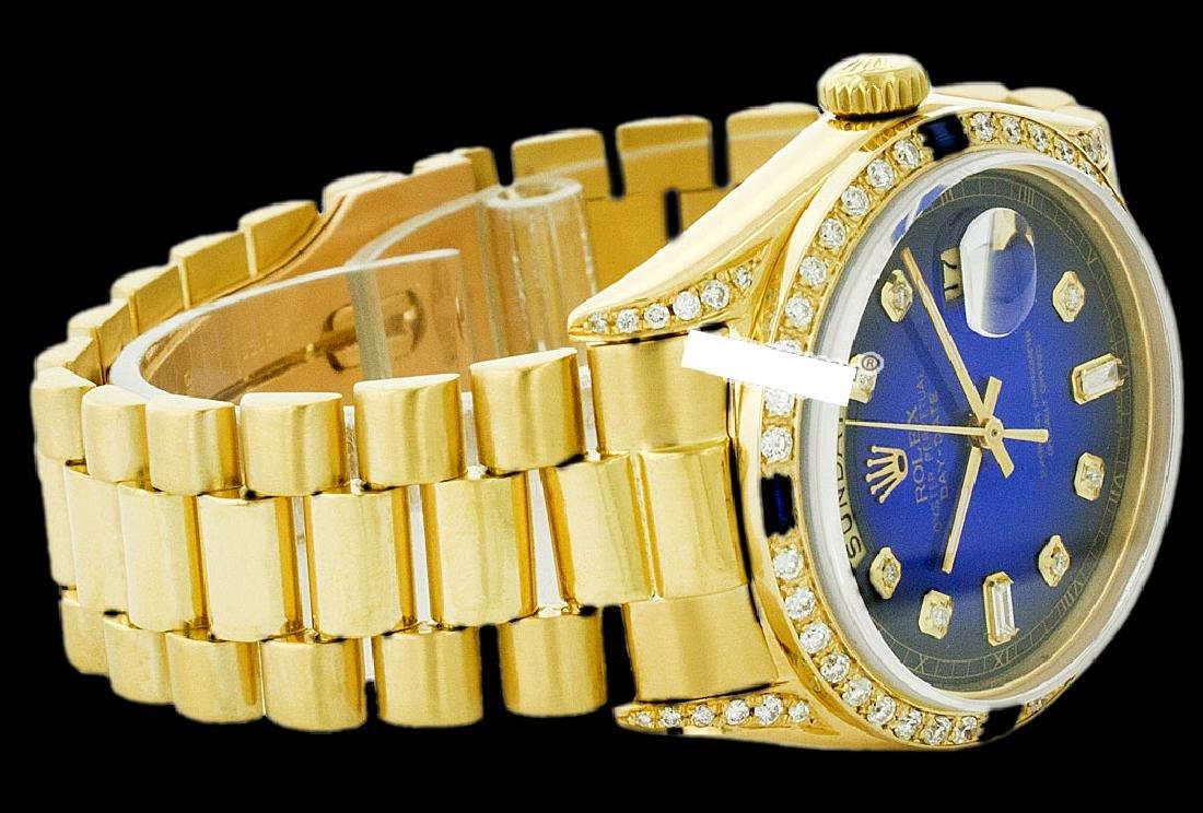 Rolex Men's 18K Yellow President, QuickSet, Diam Dial & - 2