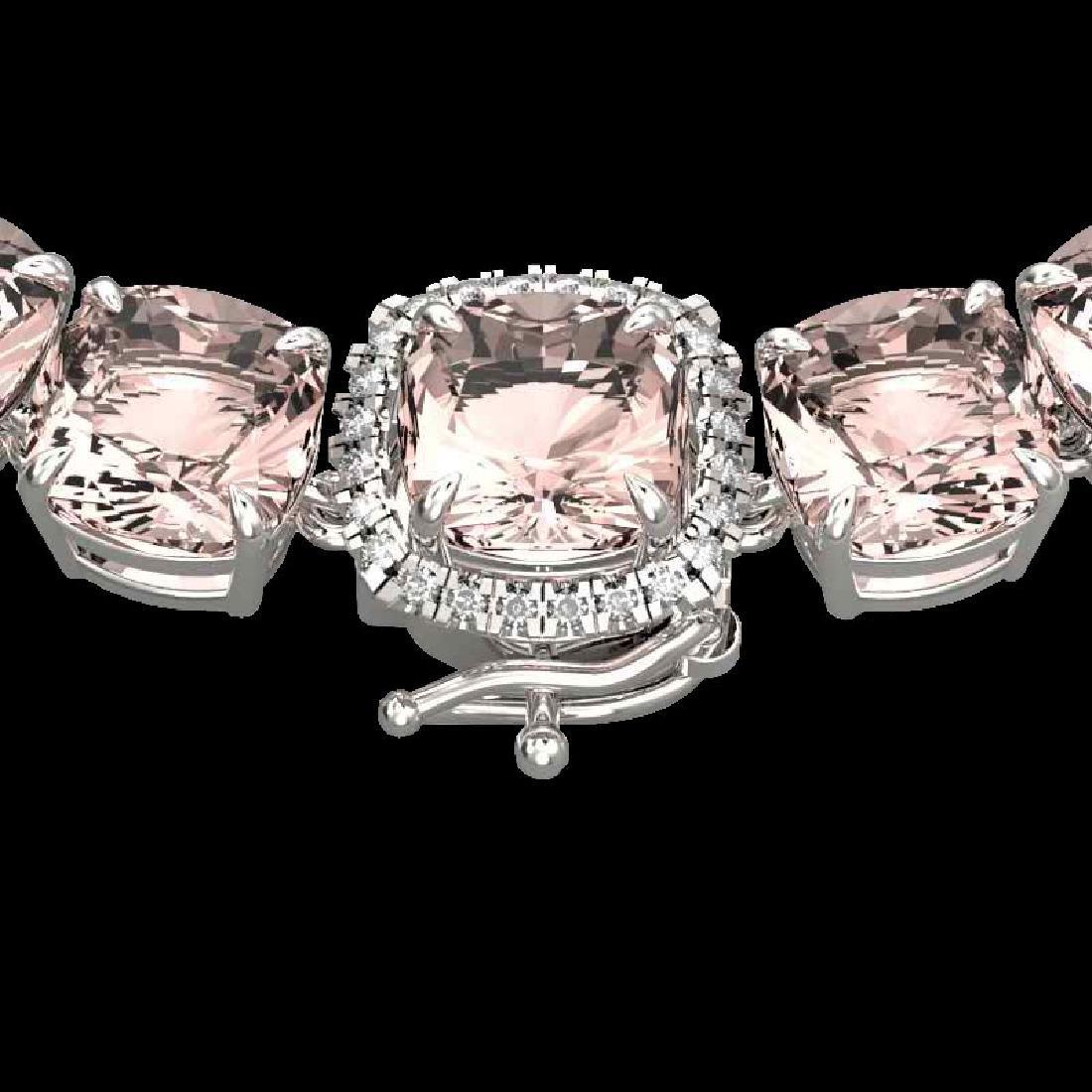 87 CTW Morganite & VS/SI Diamond Halo Micro Necklace