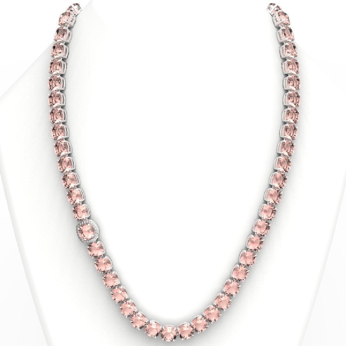 87 CTW Morganite & VS/SI Diamond Halo Micro Necklace - 3
