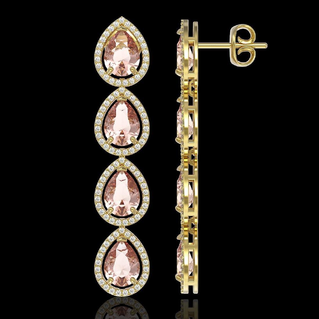 10.4 CTW Morganite & Diamond Halo Earrings 10K Yellow - 2
