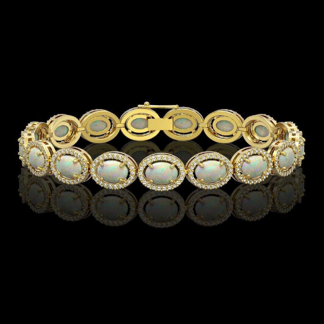 14.24 CTW Opal & Diamond Halo Bracelet 10K Yellow Gold