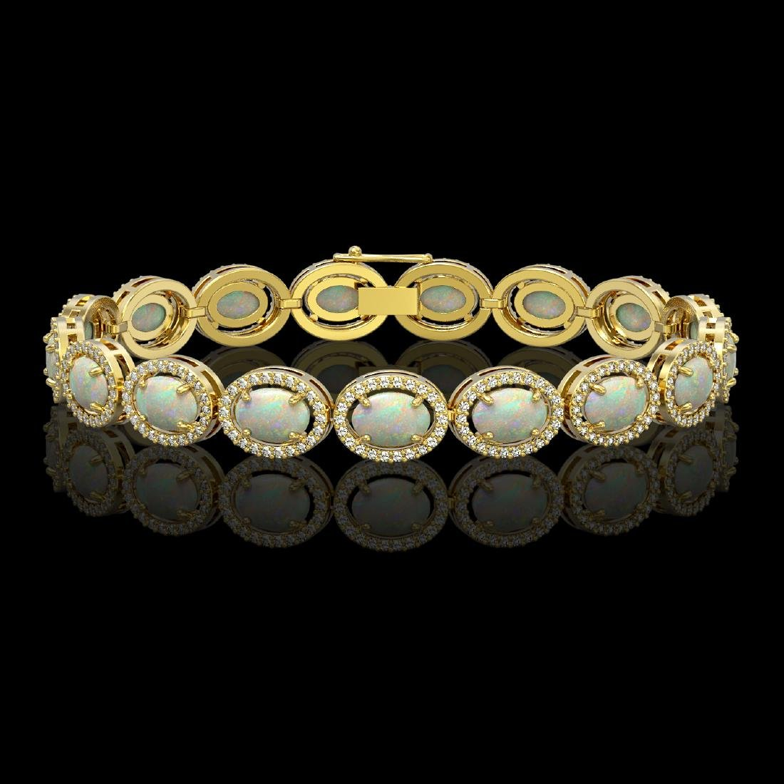 14.24 CTW Opal & Diamond Halo Bracelet 10K Yellow Gold