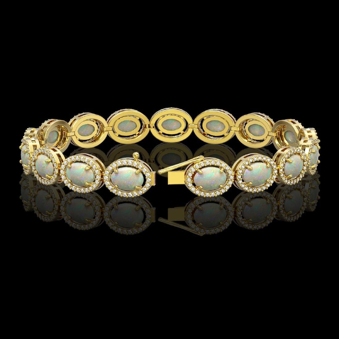 14.24 CTW Opal & Diamond Halo Bracelet 10K Yellow Gold - 2