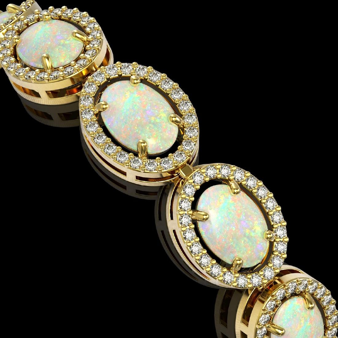 14.24 CTW Opal & Diamond Halo Bracelet 10K Yellow Gold - 3