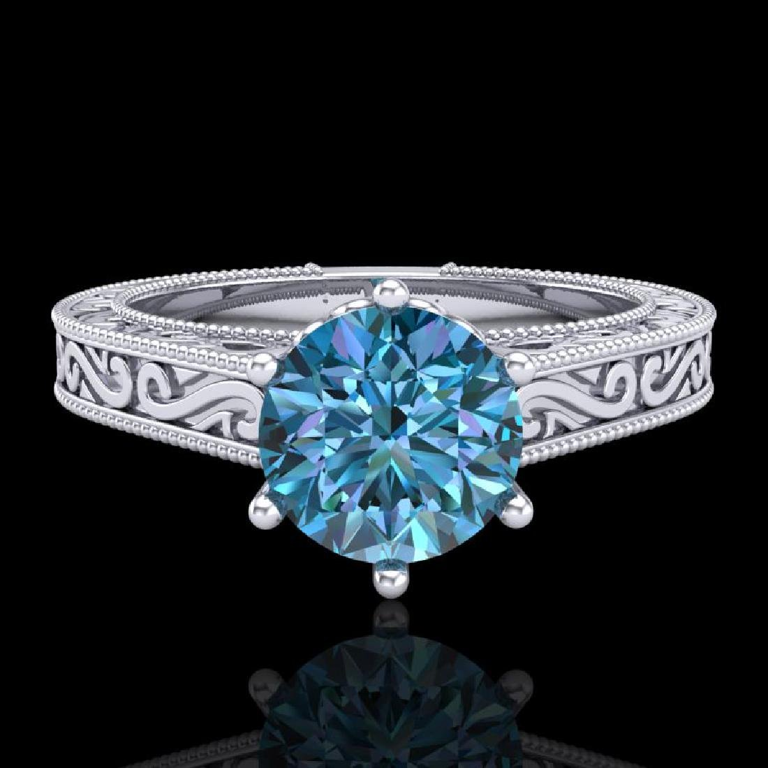 1 CTW Intense Blue Diamond Solitaire Engagement Art - 2