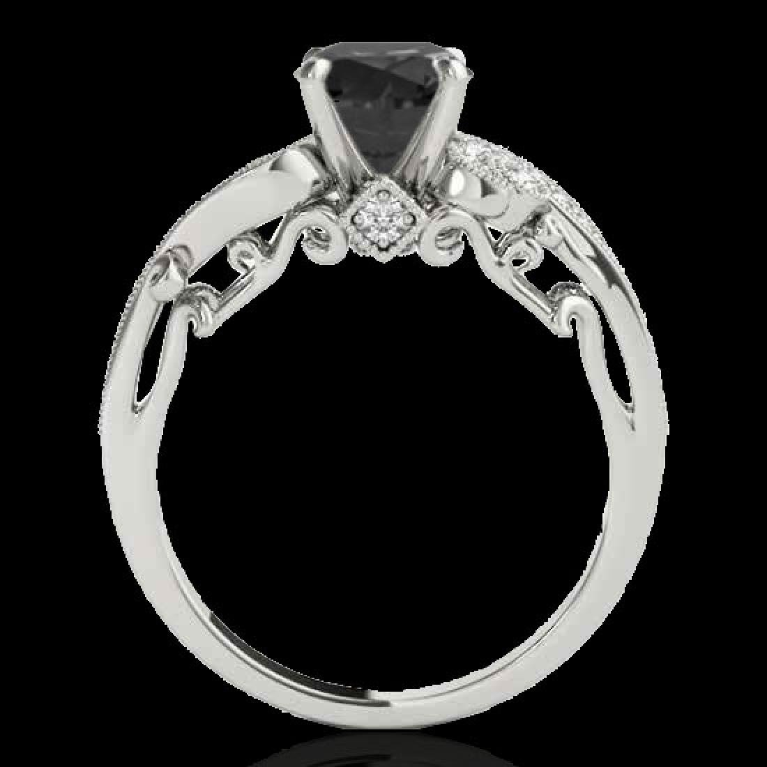 1.25 CTW Certified VS Black Diamond Solitaire Antique - 2