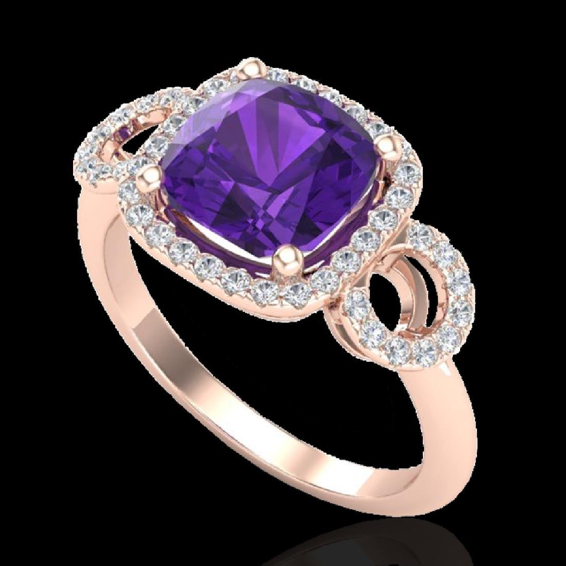 3.75 CTW Amethyst & Micro VS/SI Diamond Ring 14K Rose - 2